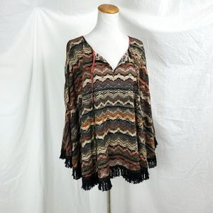 Alberto Makali XL Poncho Blouse Fringe Textured